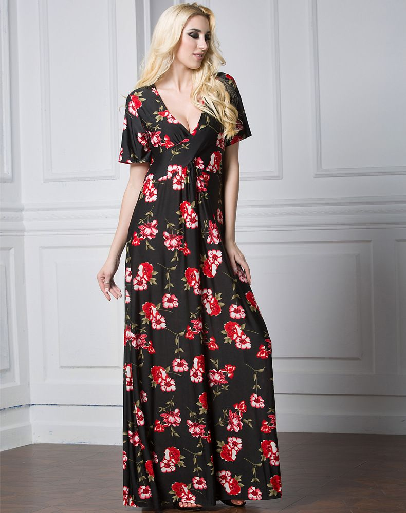 c586f9ef70a0ff Elegant Ladies Short Sleeves Long Floral Dress Maxi Dresses Floor Length  Black And Red Flower Sexy Deep V Neck Design Dress Pattern