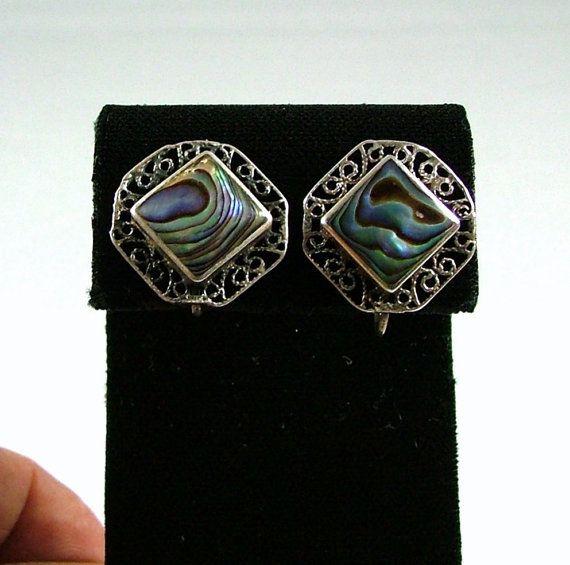 Vintage Mexican Sterling Silver Filigree Heart Earrings 1950s screw back
