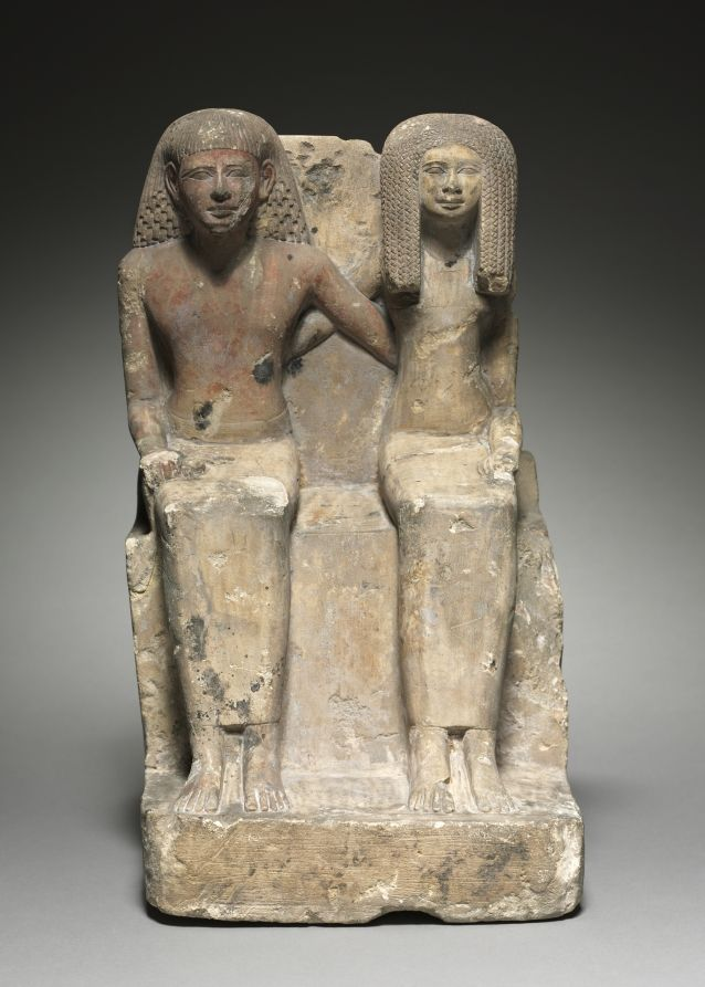 Painted limestone seated pair statute. New Kingdom. 18th dynasty. Reign of Tuthmosis III, c. 1479-1425 B.C. | Cleveland Museum of Art