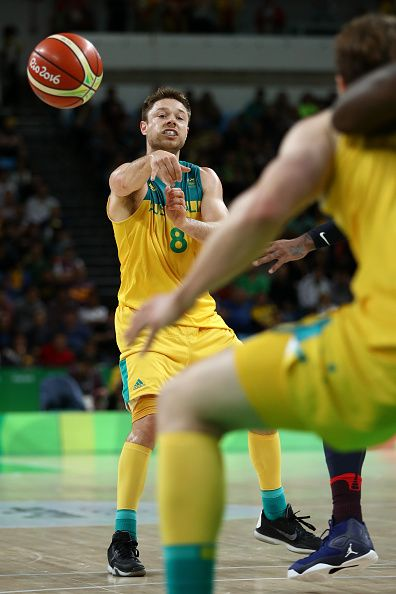 #RIO2016 Matthew Dellavedova of Australia passes the ball during a Preliminary Round Basketball game between Australia and the United States on Day 5 of the...