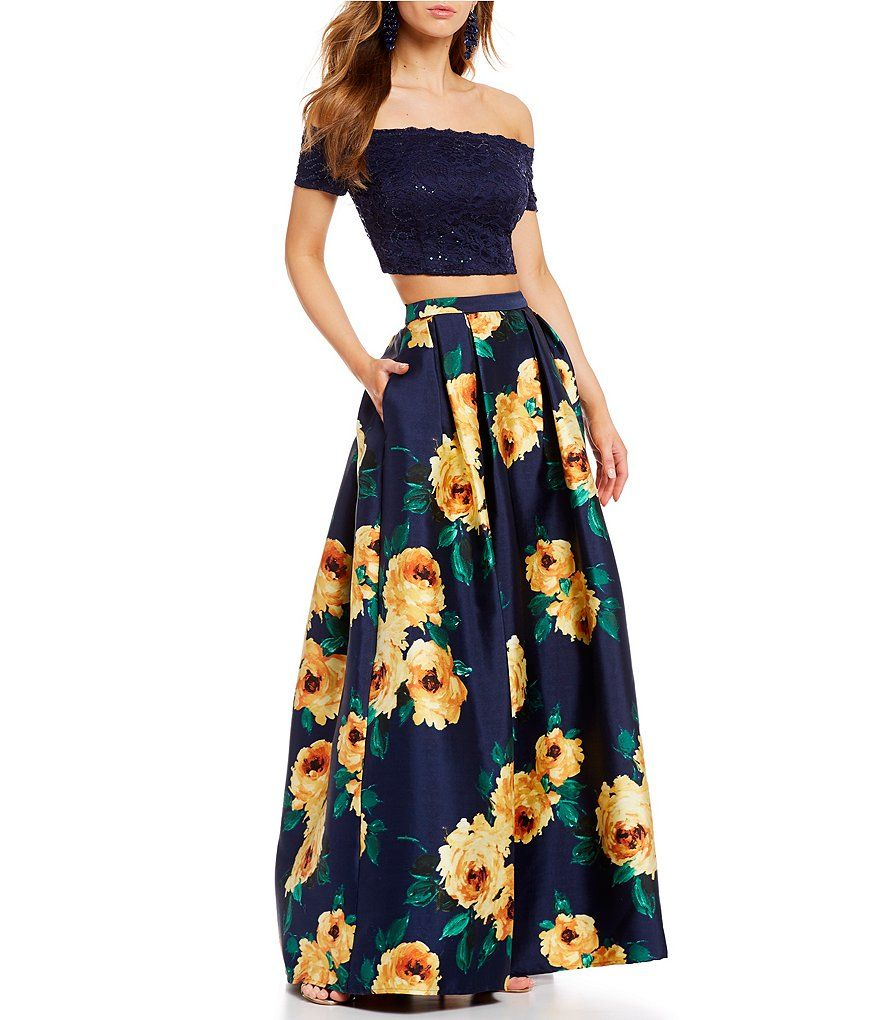 d5211ae59c7 Advertisement  B. Darlin Off-The-Shoulder Sequin Lace Top with Floral Skirt  Two-