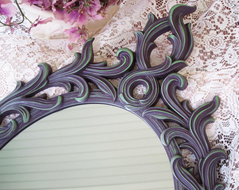 Gothic wall mirror purple mirror vintage wall mirror oval gothic wall mirror purple mirror vintage wall mirror oval wall mirror hand amipublicfo Gallery