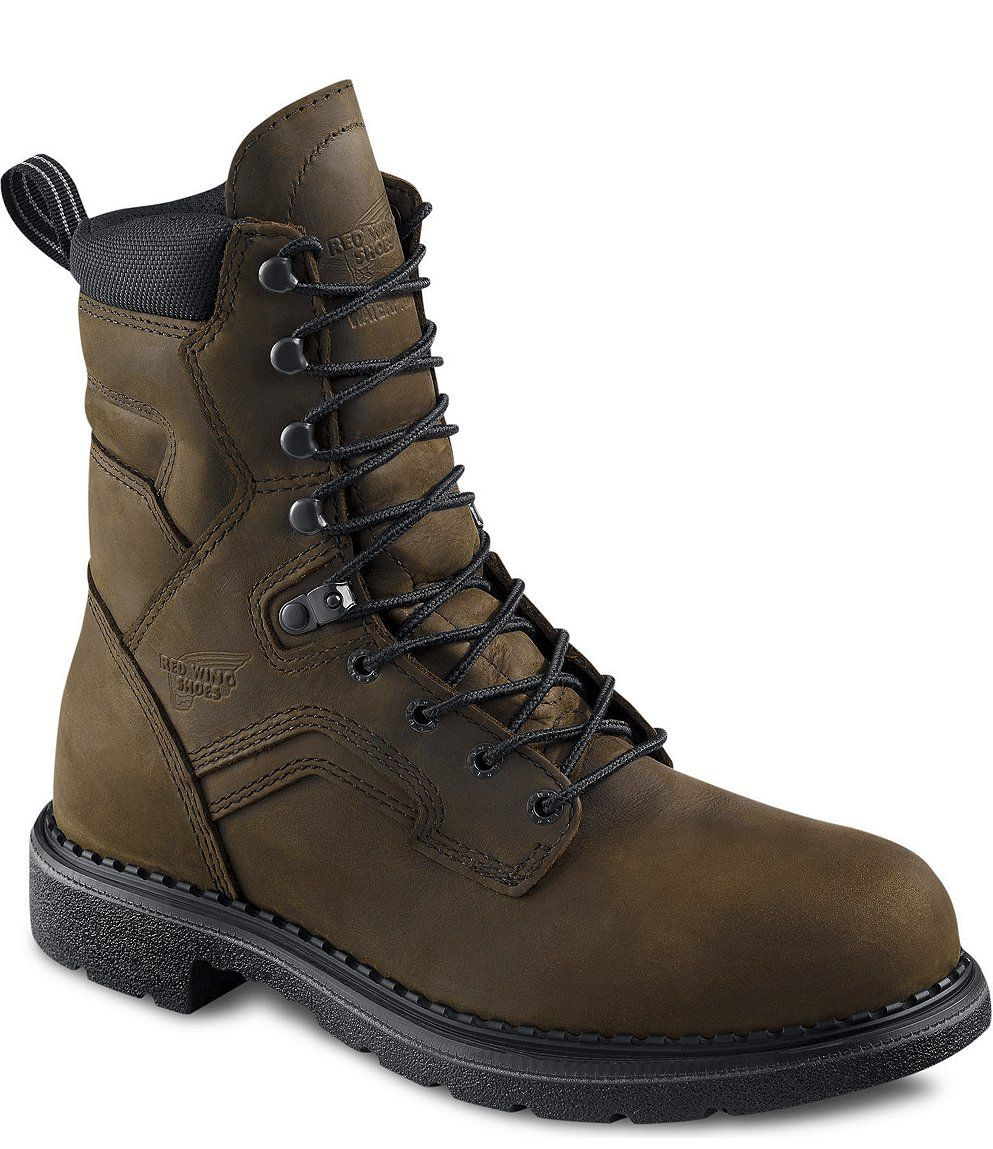 """Men's 8"""" Lace-Up Rubber Boot Round Toe Brown 13 EE US"""