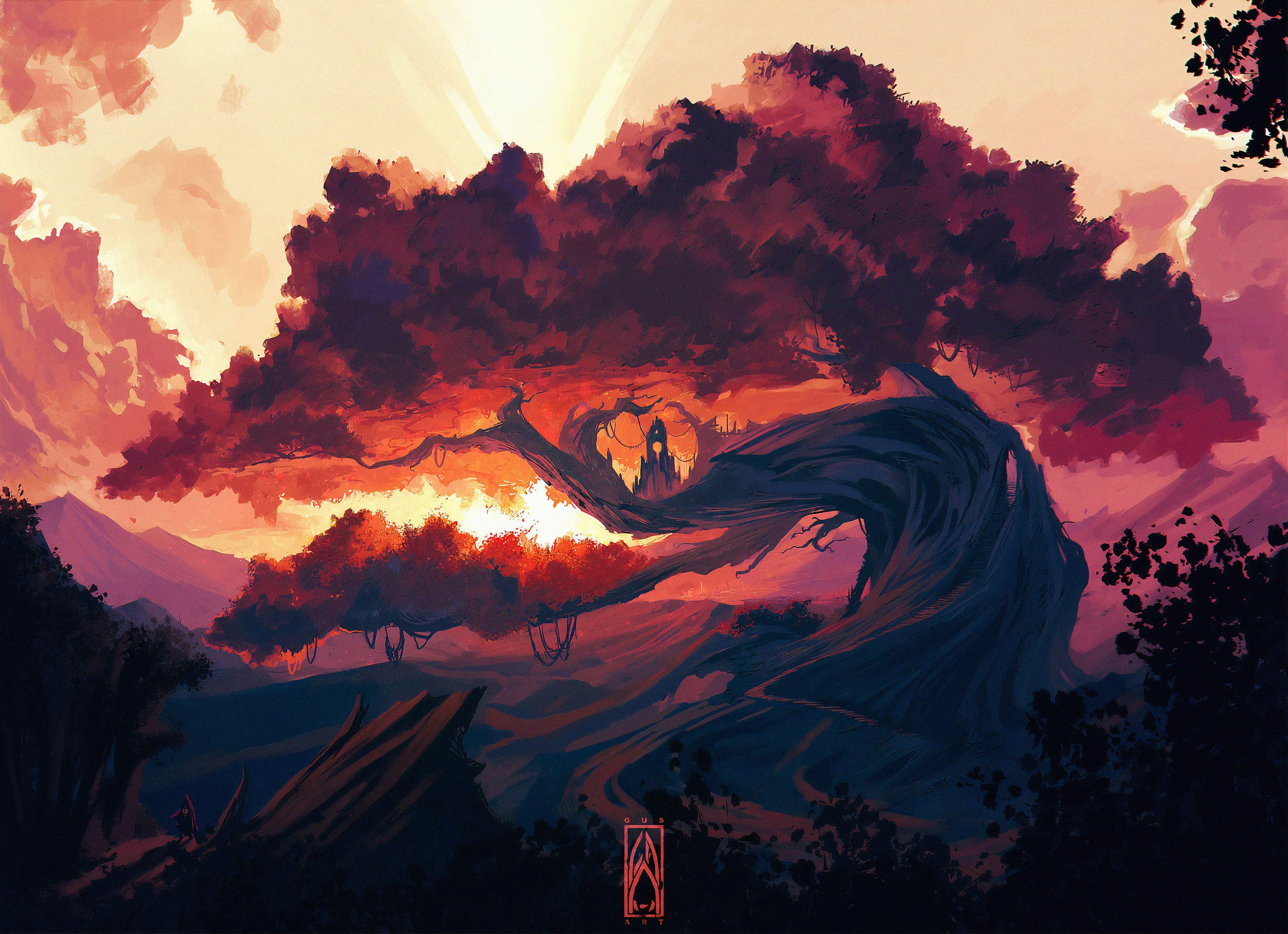 Fondo De Arbol Rosa Para Pc In 2020 Digital Painting Fantasy Landscape Fantasy Art