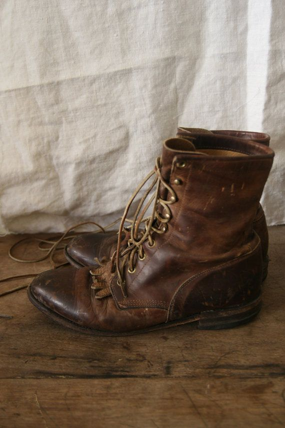 7ca23375a09d8 Vintage Justin brown leather boots size 8 1/2 D Men's or 10 1/2 ...