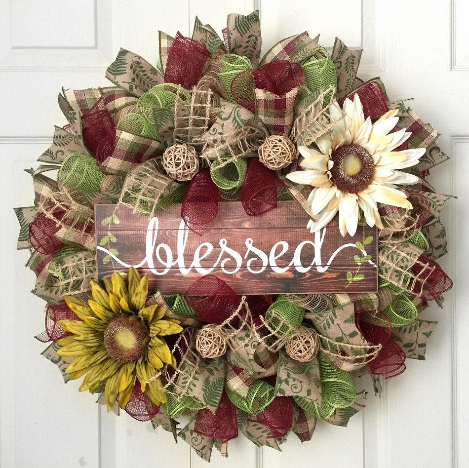 Photo of Rustic everyday wreath, blessed wreath, burgundy, green mesh wreath, deco mesh wreath