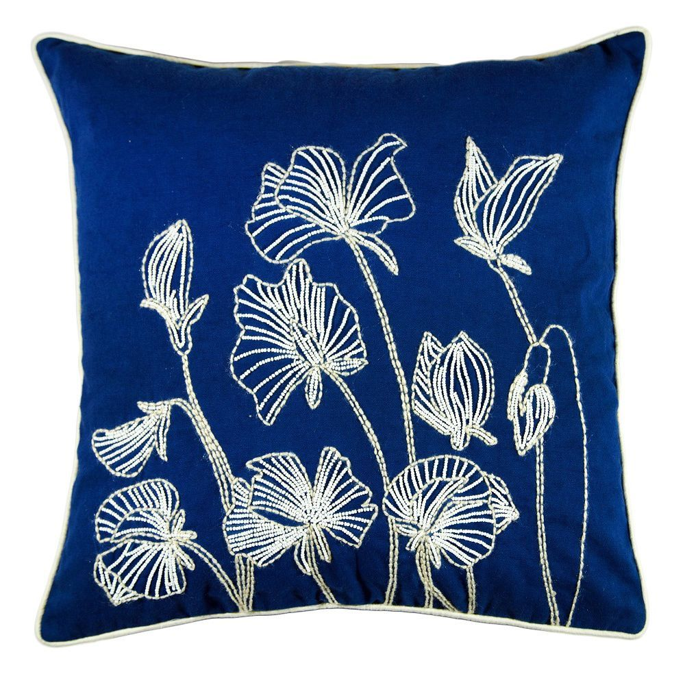 Beaded Lilly Flower Feather and Down Filled Throw PIllow (Purple)(Cotton, Embroidered)