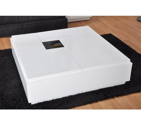 Table basse carr e brooklyn noir blanc prix promo 249 00 ttc - Table basse carre laque blanc ...