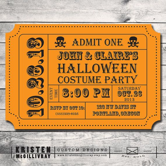 Halloween Carnival Party Ticket Invitation wwwkristenmcgillivray - admit one ticket template
