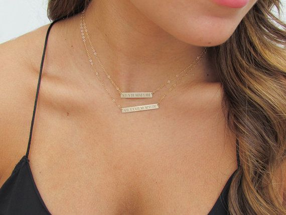 Wedding Date Roman Numeral Bar Necklace Engraved Gold Bar Etsy Gold Bar Necklace Engraved Engraved Bar Necklace Gold Bar Necklace