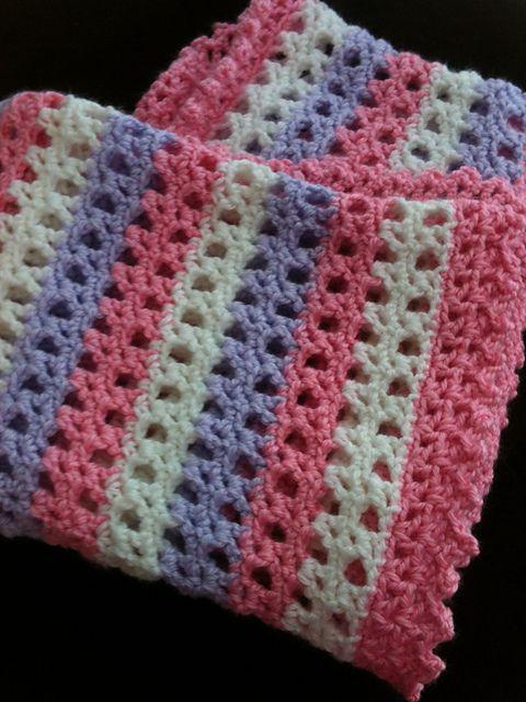 Ravelry: Striped Lace Crochet Baby Blanket | craft 4 | Pinterest ...