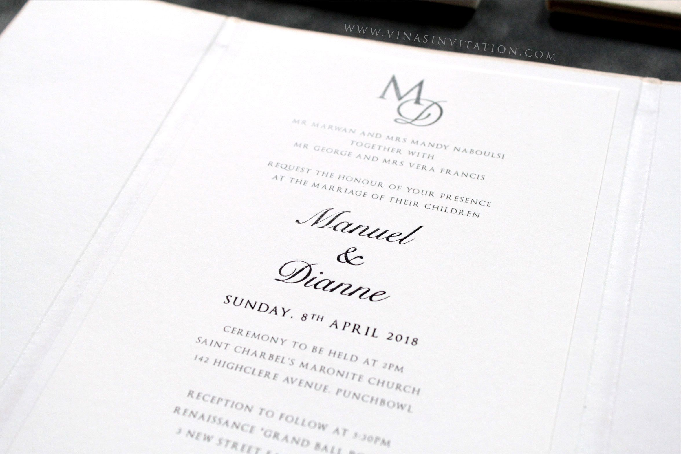 vinas invitation. australian wedding. suede invitation. suede finish ...