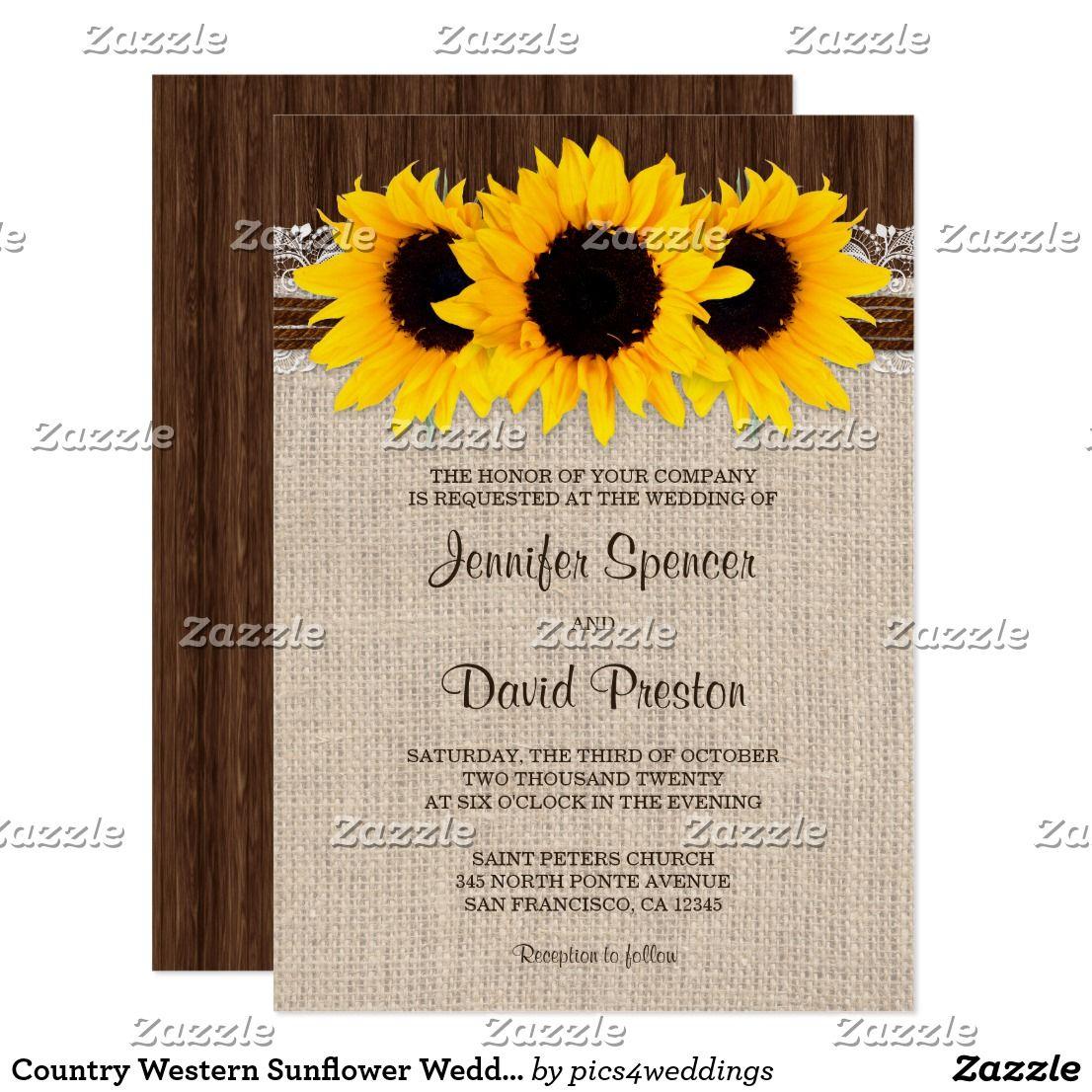Country Western Sunflower Wedding Invitation