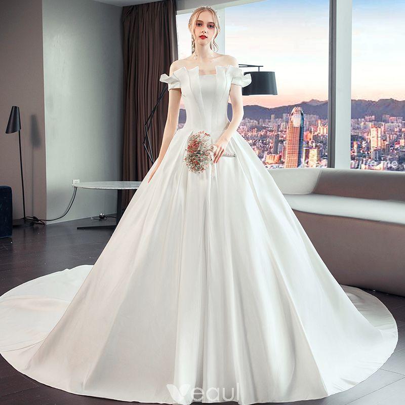 Simple Elegant Modest Wedding Dresses: Elegant Modest / Simple Ivory Wedding Dresses 2019 A-Line