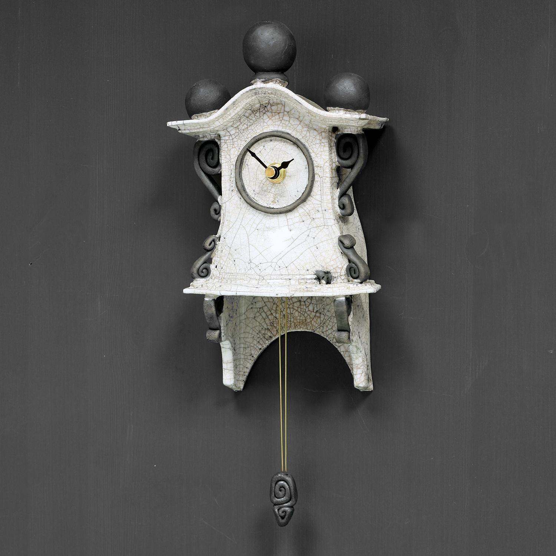 Quirky Ceramic Pendulum Wall Clock Small White By Ian Roberts