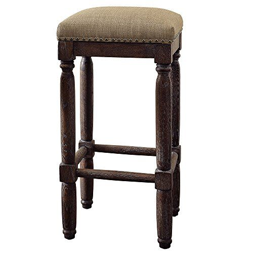 Renate Coffee Bar Stools Set Of 2 Linen Seat High 30 Inch Dining