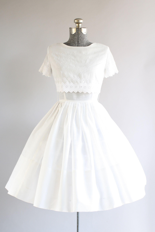 Vintage 1950s Dress 50s Cotton Dress White Sun Dress W Vintage 1950s Dresses 50s Dresses Dresses [ 3000 x 1999 Pixel ]