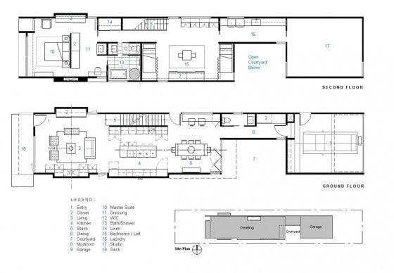 planos de casa de dos pisos construido en terreno largo y On espacio y diseño construcciones
