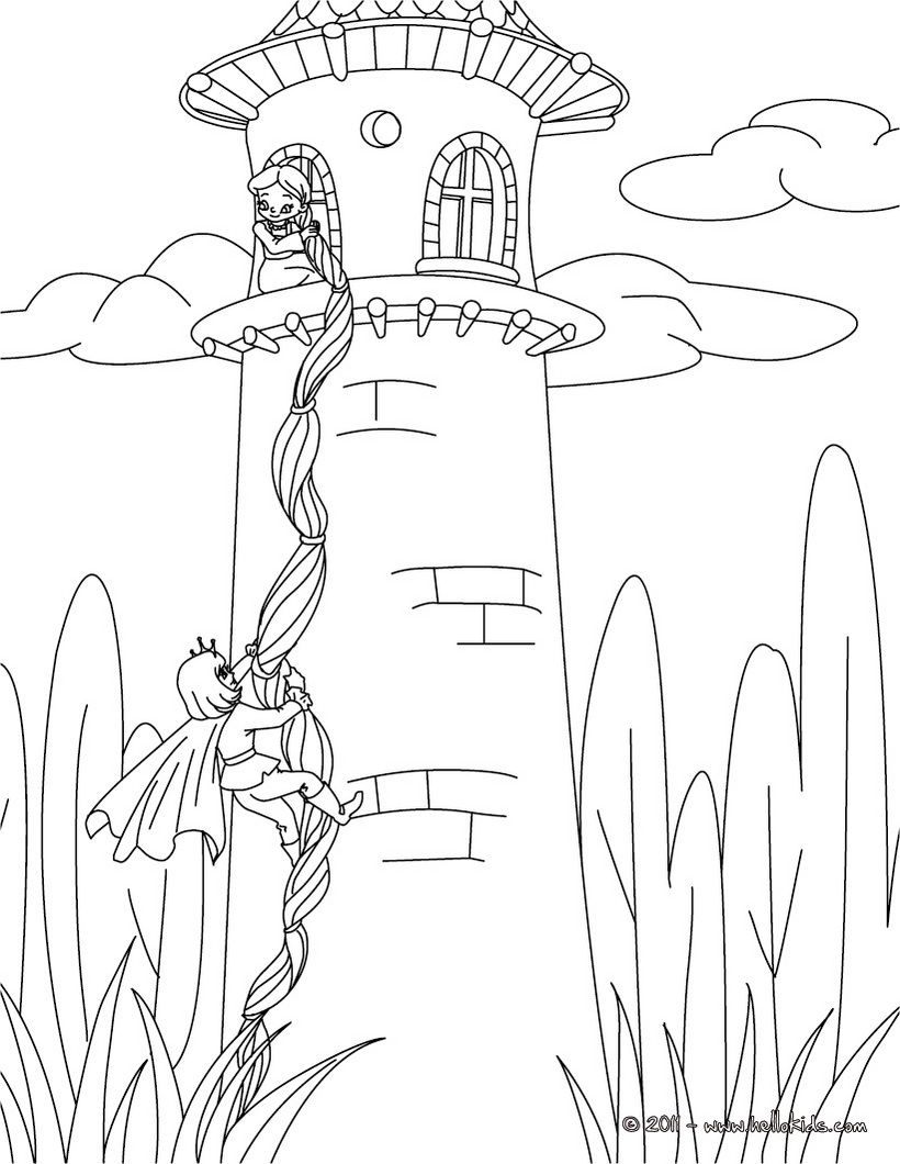 Rapunzel Grimm Tale Coloring Page Coloring Book Pages Pinterest