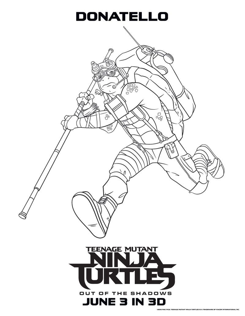Donatello Teenage Mutant Ninja Turtles Coloring Pages Turtle