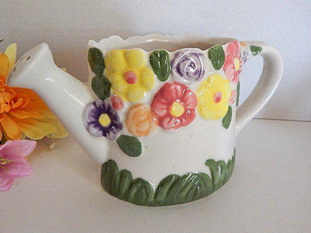 White Ceramic Planter Watering Can Spring Floral Flower Pot Vase Vintage Garden Home Decor
