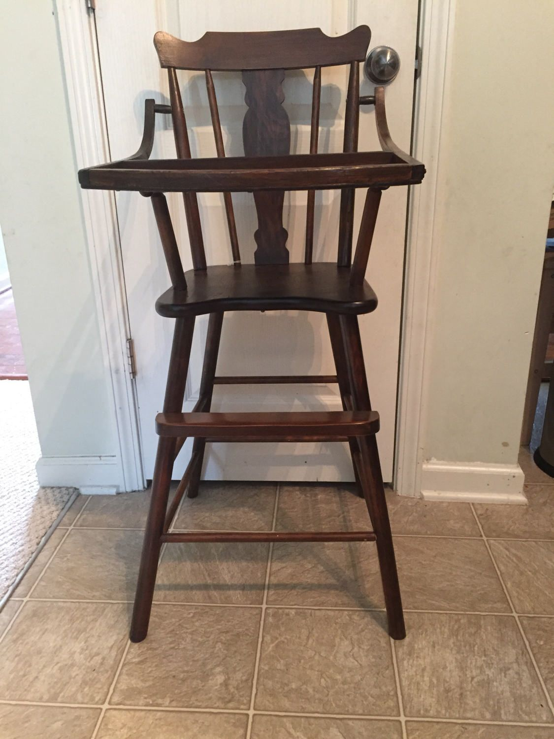 Painted wood high chair - Late 1800 S High Chair Vintage Wooden High Chair Jenny Lind Antique High Chair Painted