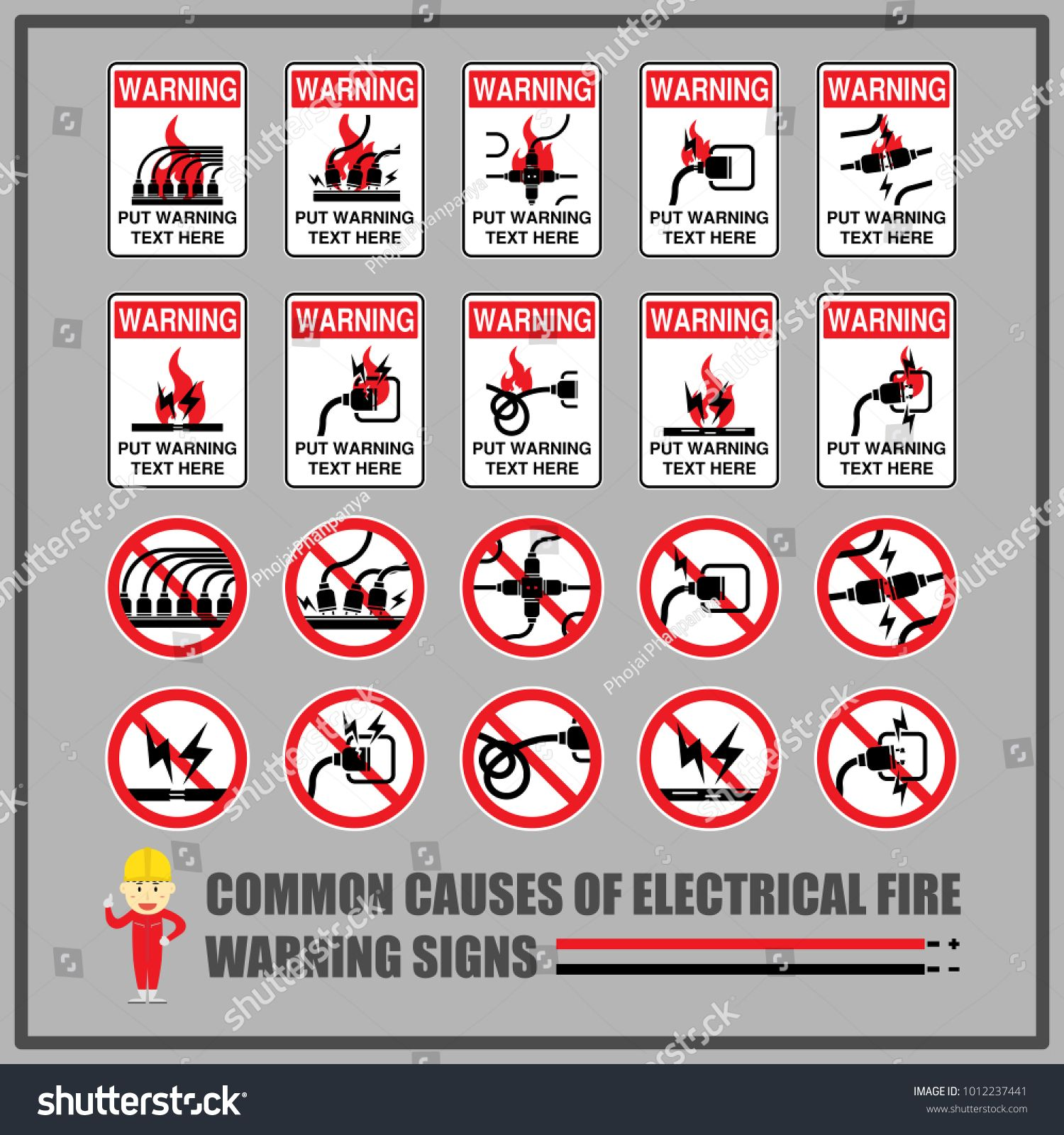 Set Of Safety Warning Signs And Symbols For Causes Of Common Electrical Fires Signs For Warning Messag In 2020 Safety Warning Signs Graphic Design Portfolio Symbols