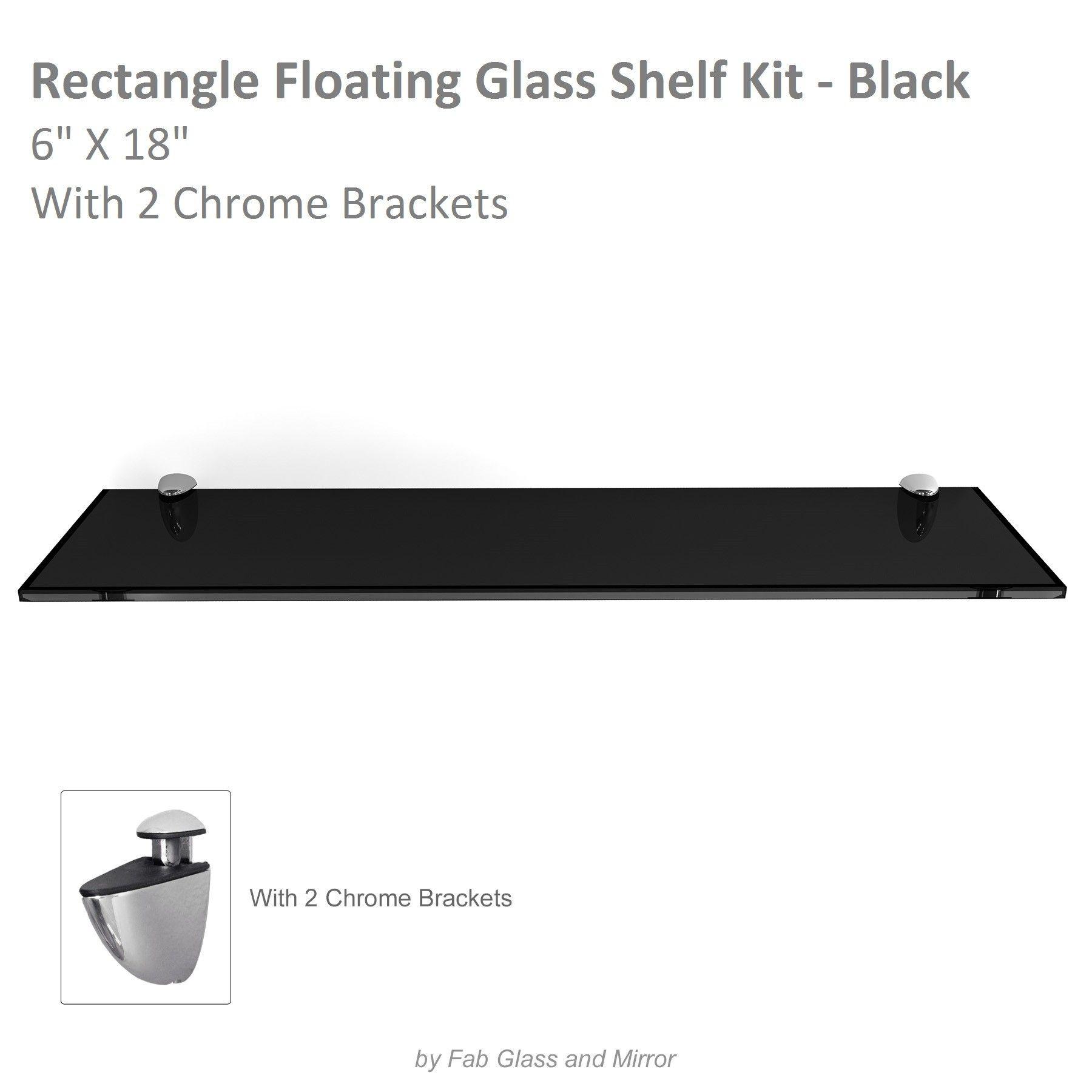 Rectangle Floating Glass Shelf Kit 6\