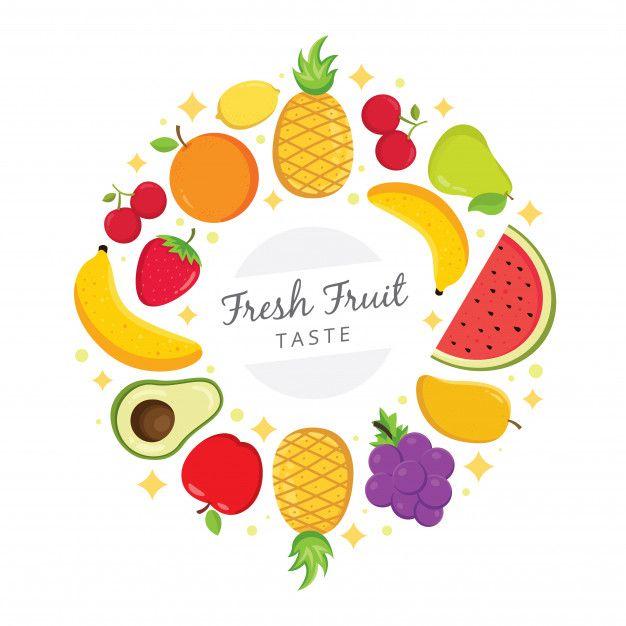 Photo of Frutas frescas de colores dispuestas en círculo Vector Premium