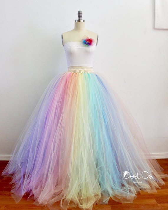 Long Tutu Multi colour Pastel Rainbow Festival Ladies tulle Skirt MLP inspired