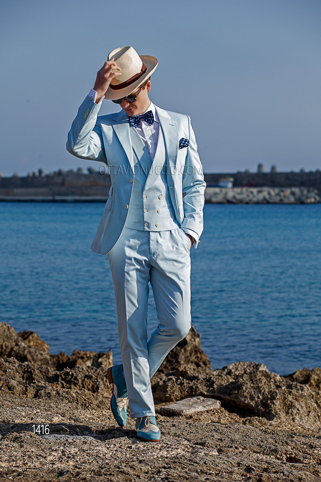 Sky blue cotton tuxedo with matched double-breasted vest #bespoke ...