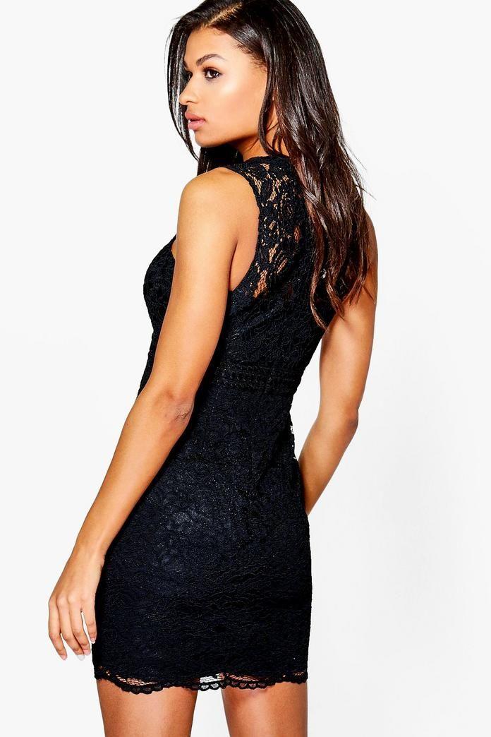 93d1fdf7974b50 Boutique Mia Lace Racer Neck Bodycon Dress