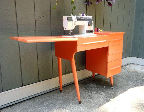 vintage orange poppy sewing table