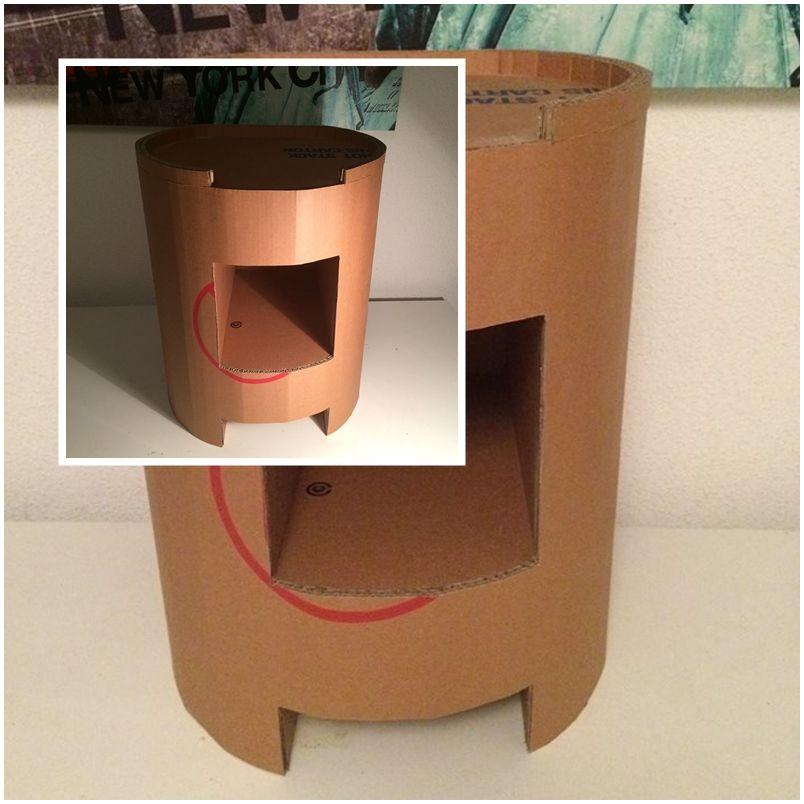 table de chevet ronde meubles en carton cardboard. Black Bedroom Furniture Sets. Home Design Ideas