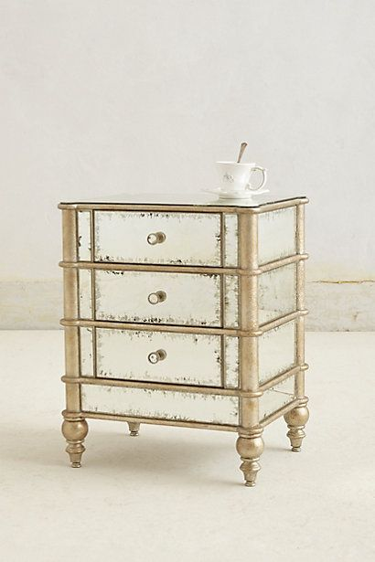 Mirror And Painted Bedside Table: Mirrored Nightstand, Tables And