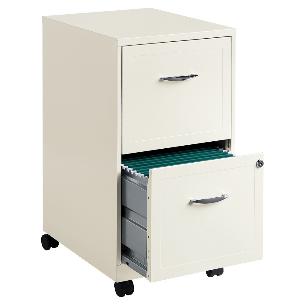 Hirsh Industries E Solutions File Cabinet On Wheels 2 Drawer Pearl White