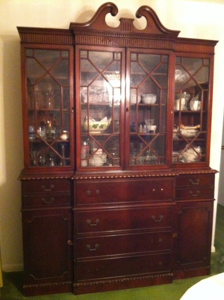 Vintage Mahogany Breakfront China Cabinet- Mine is a little ...