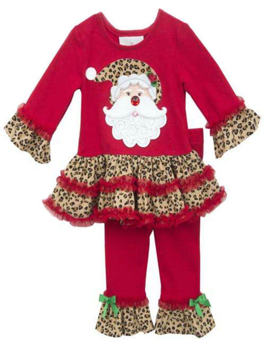 40994894c78f9 Rare Editions Big Girls Leopard Santa Pant Set 7. Fabulous leopard trimmed  ruffle tunic and