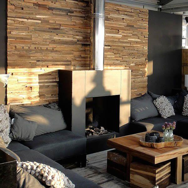 Kamin Wand Holzoptik Plywood