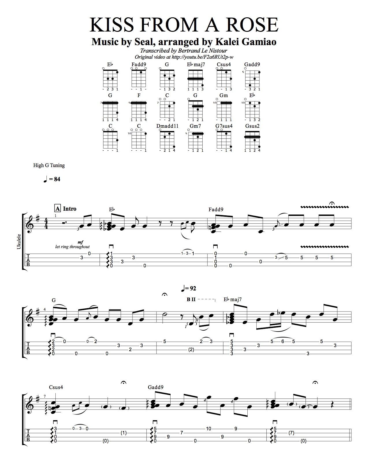 Uke Tab Kiss From A Rose Http Www Theukulelereview Com Wp