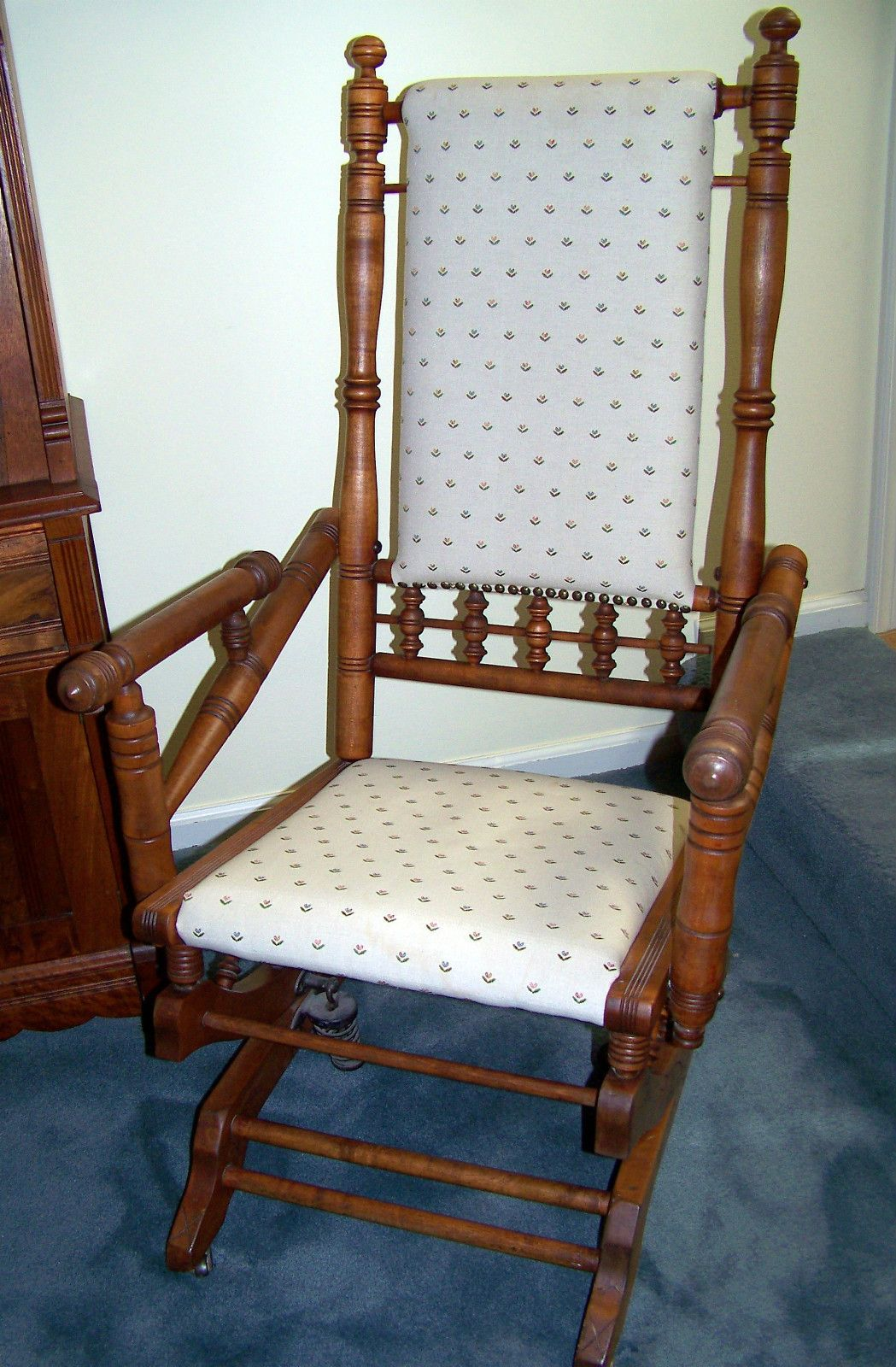 Antique Spindle Rocking Chair springs 1920s maple
