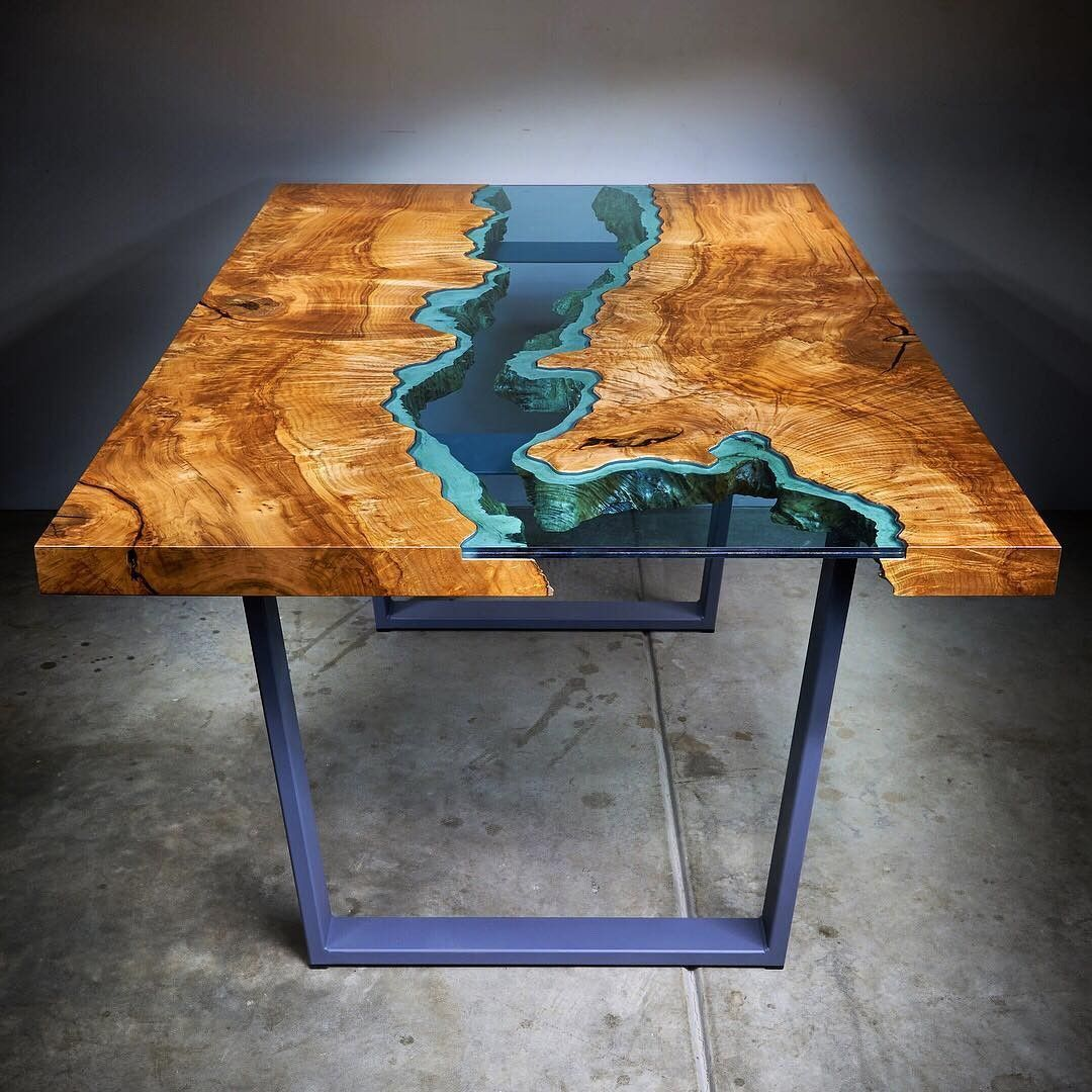River Dining Table Wood Table Resin Patio Furniture Wood Coffe Table