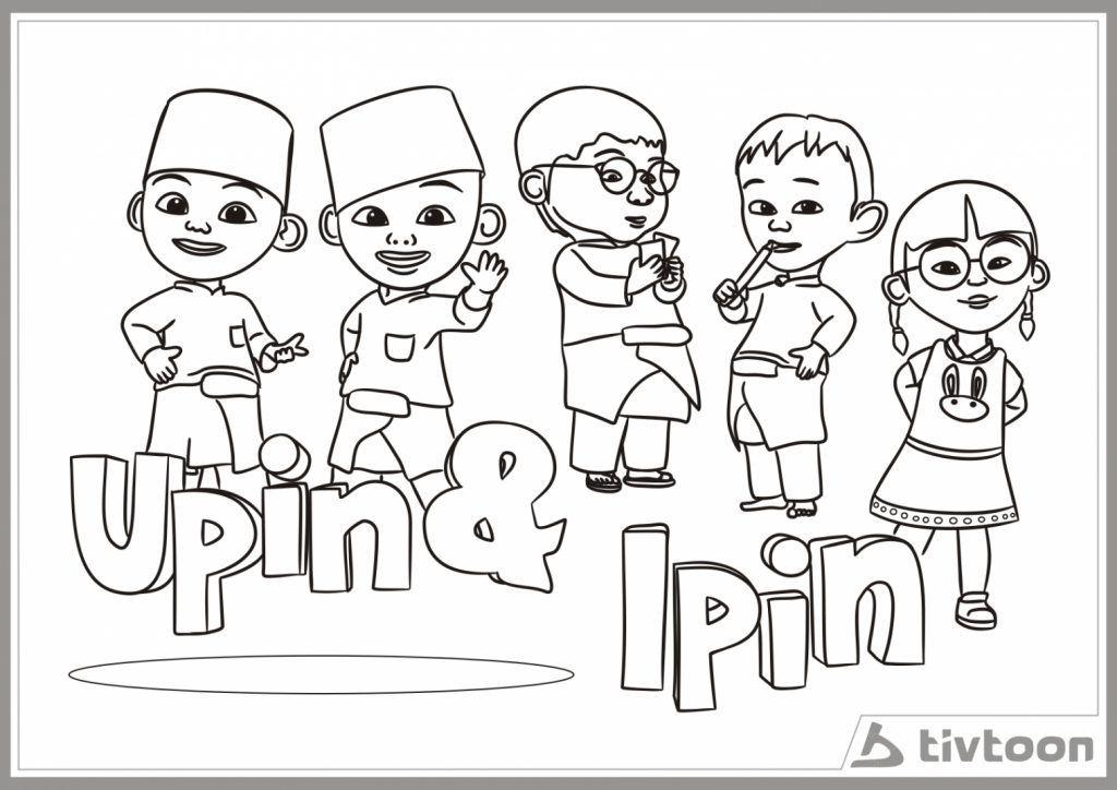 Gambar Mewarnai Gambar Upin Ipin 15 10 Kartun Mewarna Dengan