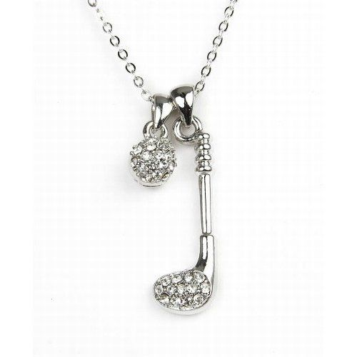 Silvertone crystal golf club and ball pendant jewelry amazon amazon pammyj clear crystal golf club and ball silvertone pendant necklace 18 jewelry aloadofball Choice Image