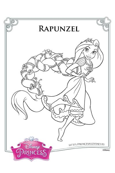 Colorea con Rapunzel | dibujos | Rapunzel coloring pages, Disney