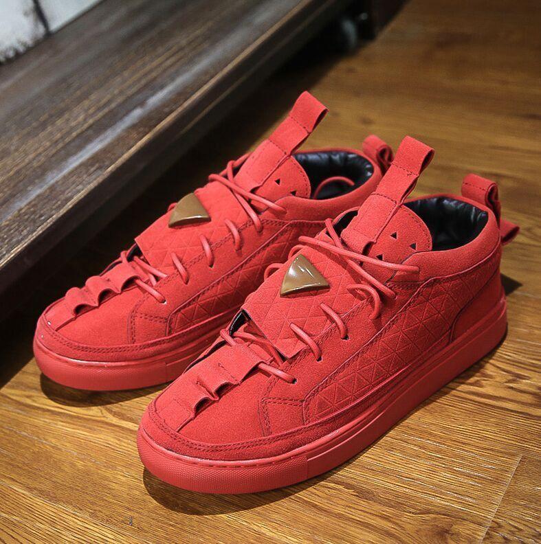 e542daf59471 Hot Sale Patrick Mohr Men Women Flat Triangle Shoes Men Genuine Leather  Nubuck Trend Red Black Nubuck Casual shoes Free Shipping