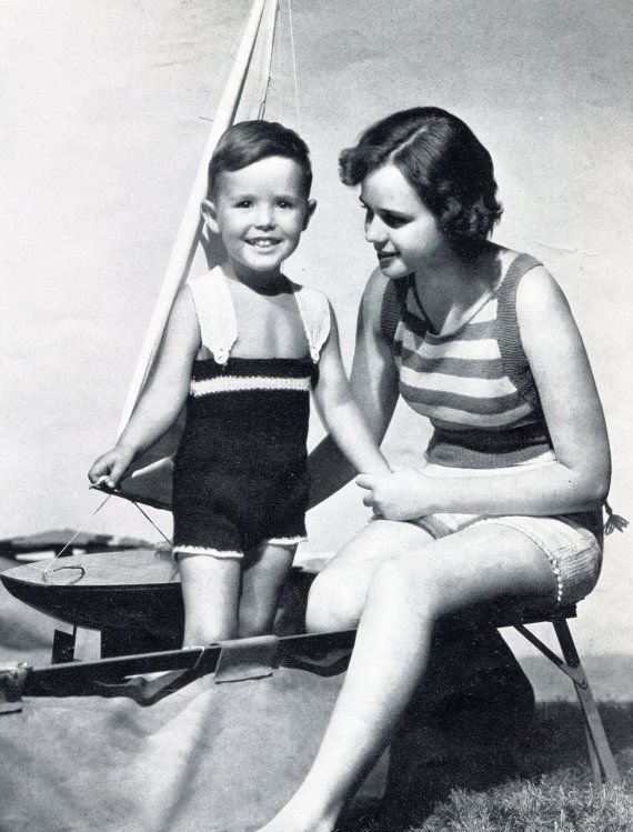1930's Mommy and Me Bathing Suits
