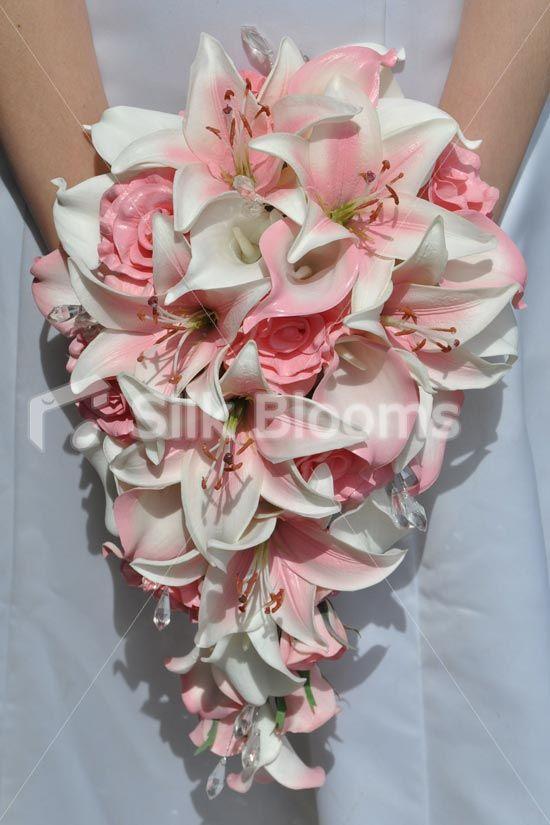 Pretty Eye Catching Pink Rose Stargazer And Calla Lily Bridal