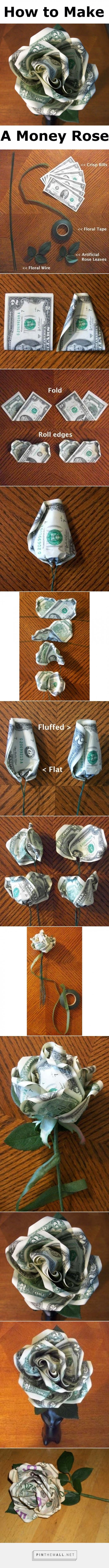 How to make a money rose free pattern pinterest money rose how to make a money rose dhlflorist Choice Image