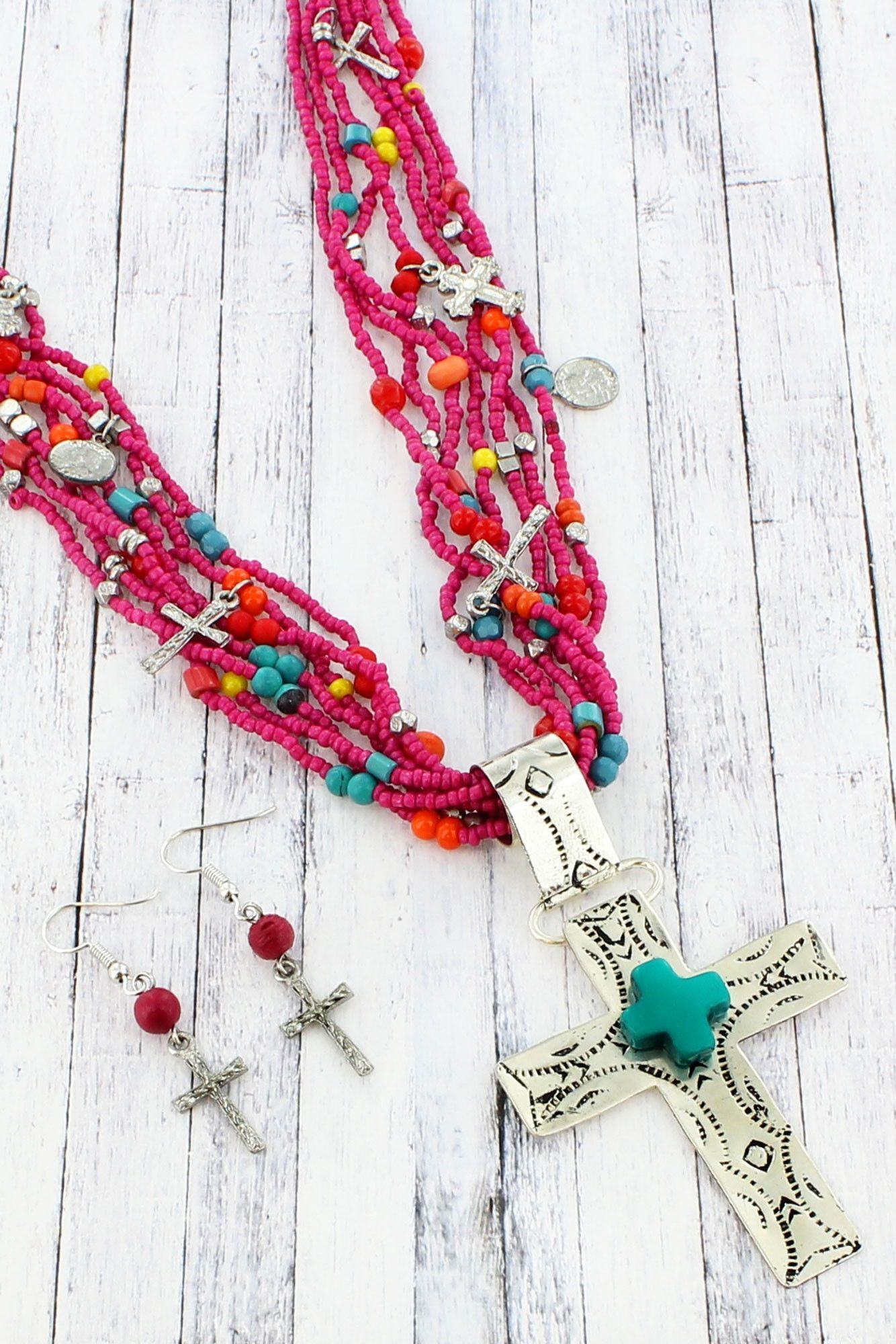 Fuchsia, Turquoise, and Silvertone Cross Multi-Strand Beaded Necklace and Earring Set #SS0012-MU1